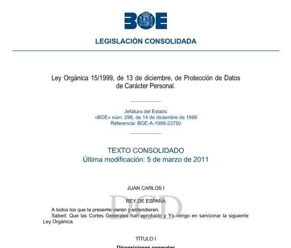 Ley Orgánica 15/1999, de 13 de diciembre, de Protección de Datos de Carácter Personal